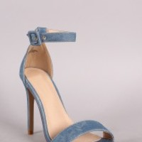 Liliana Square Toe Basic Duo Strap Stiletto Heel