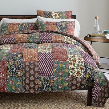 DaDa Bedding Floral Masterpiece Reversible Bohemian Cotton Real Patchwork Quilt Bedspread Coverlet Set - Vibrant Boho Print - 3-Pieces (JHW512)