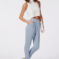LOUISA PLEAT FRONT TAPERED LEG TROUSERS POWDER BLUE