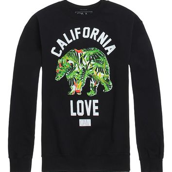 California Love Cali Love Bear Crew Fleece - Mens Hoodie - Black