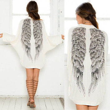 2015 Autumn Back Angel Wings Print Womens Cardigan European Loose Batwing Sleeve Coat Jacket Female Casual Femininas Sweater
