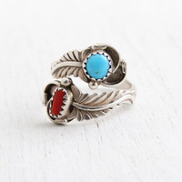 Vintage Sterling Silver Turquoise & Coral Bypass Ring - Retro Adjustable Size 7 Southwestern Navajo Native American Jewelry Hallmarked RB