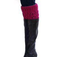 Boot Cuffs - Magenta Boot Toppers - Pink Boot Socks - Winter Accessory - Boot Accessory - Handcrafted Boot Socks - Jeans Accessory