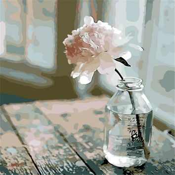 Elegant Flower Picture Painting By Numbers Modern Wall Art Picture DIY Hand Painted Canvas Coloring Home Decor 2017 Gift