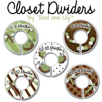 Closet Dividers In the Brown Green Dragonfly Bugs Bedroom Baby Nursery Art Decor CD0021
