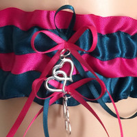 Fuchsia Pink and Teal Wedding Garter Set, Prom Garter