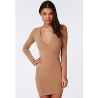 Missguided - Jersey Wrap Bodycon Dress Camel