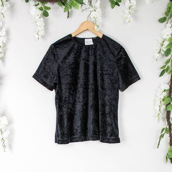 Vintage Crushed Velvet Black Blouse