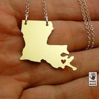 I HEART LOUISIANA  State BRASS , sterling silver chain, brass pendant