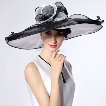 White kentucky derby hats for tea party dresses ladies church hats for black women summer wide brim hats organza chapeau femme