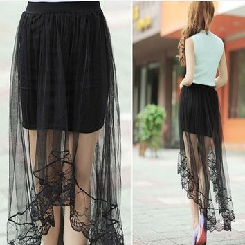 Women's Chiffon Lace High Low Asymmetrical Long Maxi Skirt Free Size