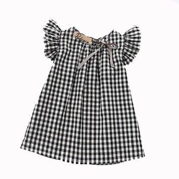 Cotton Toddler Kids Baby Girls Summer Lace Plaid O-Neck Princess Dress Party Wedding Pageant Dresses