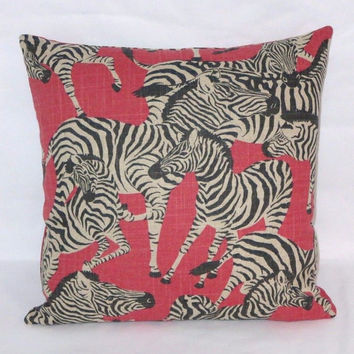 "Zebra Herd Throw Pillow Waverly Together Black Red Tan 17"" Square Linen Insert Included Ready Ship"