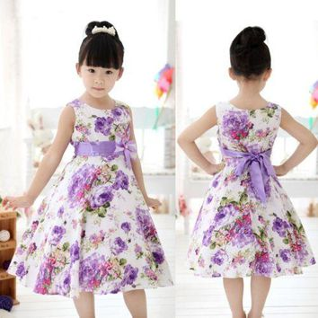 Baby children clothing 2018 new spring sweet flower bow lace girls dresses kids princess girls clothes baby girl party dress