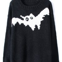 Black and White Bat Pattern Ribbed Jumper Sweater | CozBest:lastest womens fashion clothing,shoes,dresses shop online