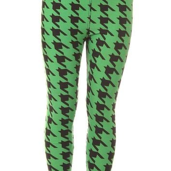Kid's Green Houndstooth Pattern Printed Leggings