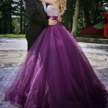 Crystal Beaded Bodice 2016 Beautiful Grape Sweetheart Formal Party Pageant Gown Strapless Organa Floor Length Prom Dress