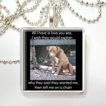 All I have is love you see, I wish they would explain...   Glass Pendant Necklace