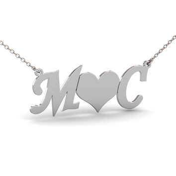 Sterling Silver Heart Initials Necklace