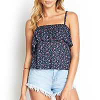FOREVER 21 Flounced Floral Crop Top Navy/Pink