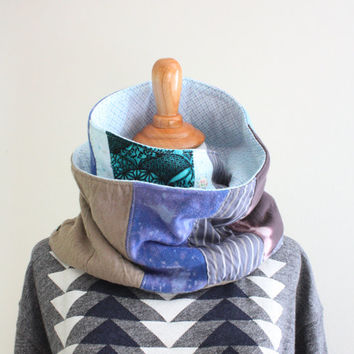 Men's scarf / Upcycled Scarf / Upcycled fabric mens scarf / Fabric Eco Friendly Scarf / Neck Warmer / Patchwork Winter Scarf - Saidonia Eco