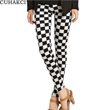Womens Fashion Grid Leggings Floral Patterned Letter Print Female Cross Skull Stripe Leggings