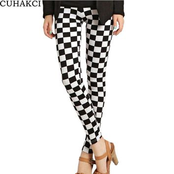 Womens Fashion Grid Floral Patterned Letter Print Female Cross Skull Stripe Leggings