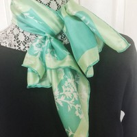 Vintage Scarf,  Light Turquoise, White And Green, Floral Pattern, Vintage Accessory, Versatile, Use For Crafting