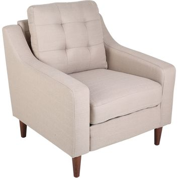 Maverick Mid-Century Modern Accent Chair Upholstered, Light Brown Fabric