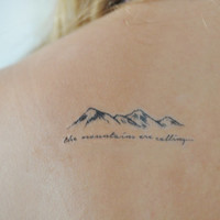 Mountains Temporary Tattoo, Small Temporary Tattoo, Tattoo Temporary, Nature Art, Black, Quote Temporary Tattoo, Temporary Tattoo Set