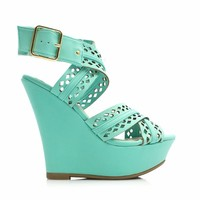 Perforated Crisscross Strap Wedges - GoJane.com
