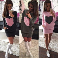 Women's Fashion Heart Print Winter Warm Cotton Bodycon Long Sleeve Dress