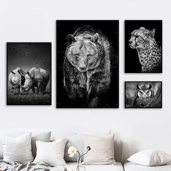 Lion Bear Rhino Leopards Owl Wall Art Canvas Painting Nordic Posters And Prints Animals Wall Pictures For Living Room Home Decor