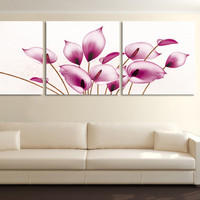 3 Panels pink flower Painting Canvas Wall Art Picture Home Decoration Living Room
