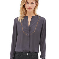 Long Sleeve Stand Collar V-neck Chiffon Blouse