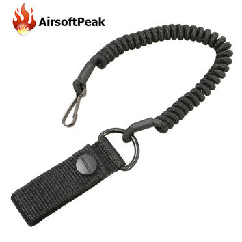 Anti-lost Elastic Lanyard Rope Military Tactical Black Spring Safety Strap For Key Ring Chain Flashlight Outdoor Hunting Bags