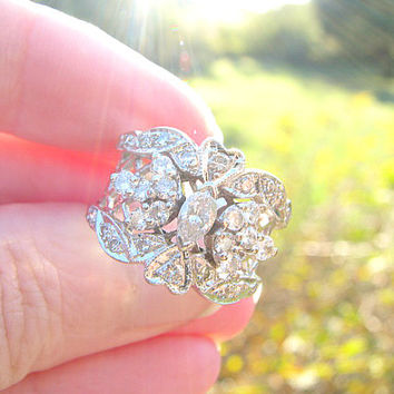 Large Vintage Diamond Ring, Lacy Intricate Leaf Design with Milgrain Details, Wide Diamond Band, approx .93 ctw, 8.50 grams, Very Striking
