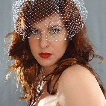 """Gemma"" - Short Bird Cage Veil with Flat back Pearls"