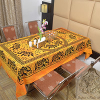 Indian Cotton Table Cloth Yellow Color Elephants Mandala Print Table Cover Tapestry Wall Hanging TC63