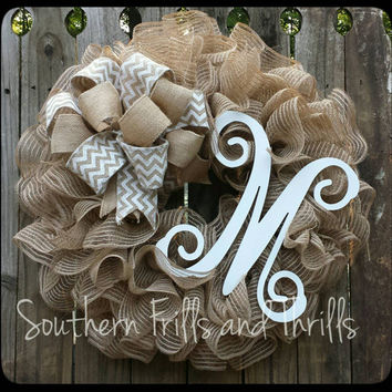 Burlap Wreath, Monogram Wreath, Rustic Wreath, Holiday Wreath, Ruffle Wreath, Deco Mesh Wreath, Mesh Wreath, Outdoor Wreath, Natural Wreath