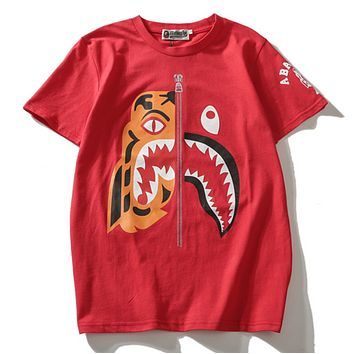 Bape Aape Summer Fashion New Tiger Shark Print Women Men Top T-Shirt Red