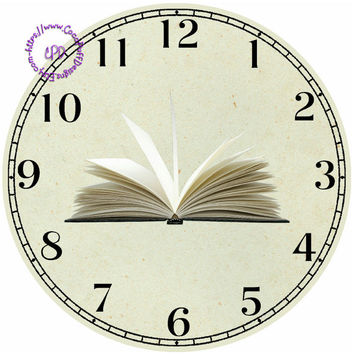 """Open Book Art - -DIY Digital Collage - 12.5"""" DIA for 12"""" Clock Face Art - Crafts Projects"""