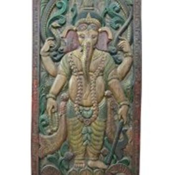 Ganesha Panel Standing Wall Panel 72 Inch Height X 36 Inch Width Hand Carved Wood Wall Panels | Mogul Interior
