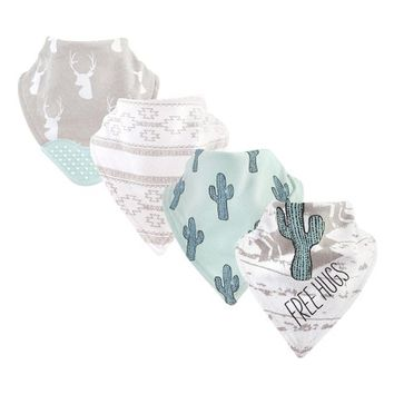 Gray & Turquoise Cactus 'Free Hugs' Bandana Bib & Teether Set