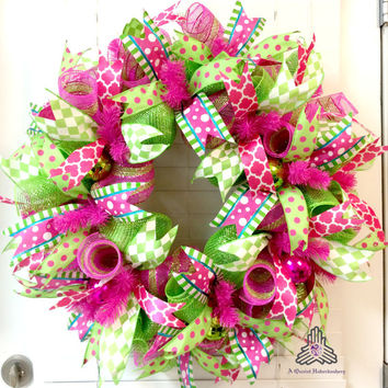 Summer Hot Pink Lime Green Deco Mesh Wreath