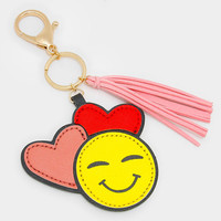 Double Heart Emoji Key Chain with Tassel Charm