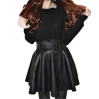 Pleated Rivet PU Leather Skirt