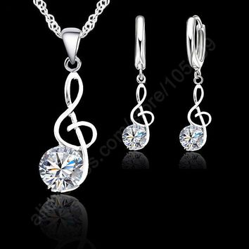 Jemmin Musical Notes Jewelry Sets Real 925 Sterling Silver Cubic Zirconia Symbols Shape Pendant Necklaces Earrings Sets Gift