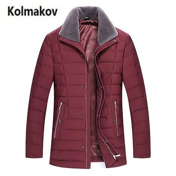 KOLMAKOV 2017 new winter high quality men's fashion real wool turndown-collar down jacket,90% white duck down coats parkas men.