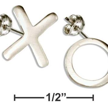 """Sterling Silver Hugs And Kisses """"x"""" And """"o"""" Post Earrings"""